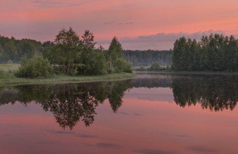 река, закат, тишина, вологодская обл., б.юг Между небом и землейphoto preview