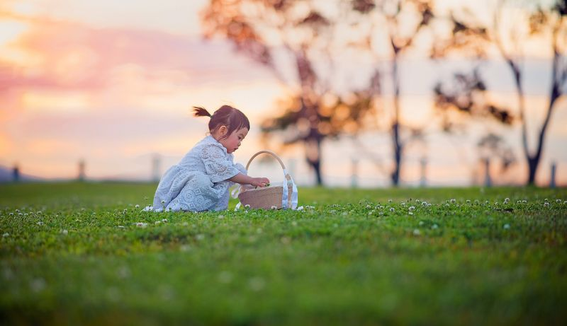 girl, sunset, kid, moment, pick, field, childhood sunset...photo preview