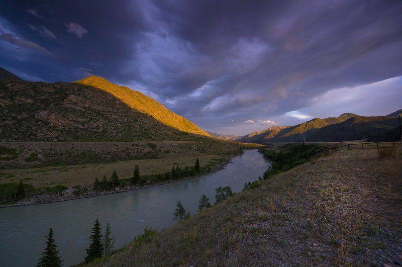 алтай, река, катунь, урочище, кур-кечу, свет,  горы Вечер на кордоне Кур-Кечуphoto preview