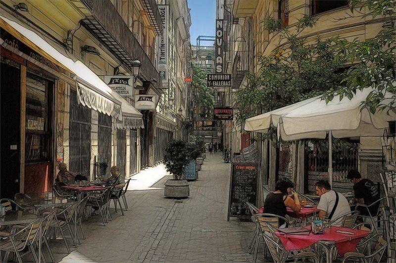 испания, валенсия, город, улица, кофе, кафе, полдень, лето, романов полуденный кофе . . .photo preview