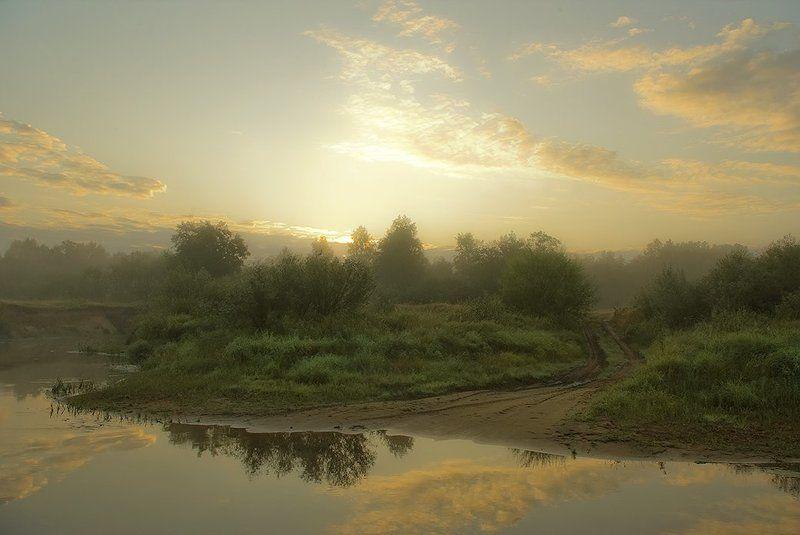 туман, речка, рассвет Бродphoto preview