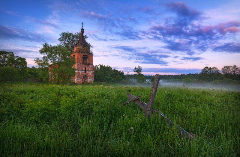 пейзаж, пейзажная съемка, утро, туман, храм, июнь, июньское утро, свежесть, молодая зелень, никон, landscape, may, fog, morning, church Летний вечерphoto preview