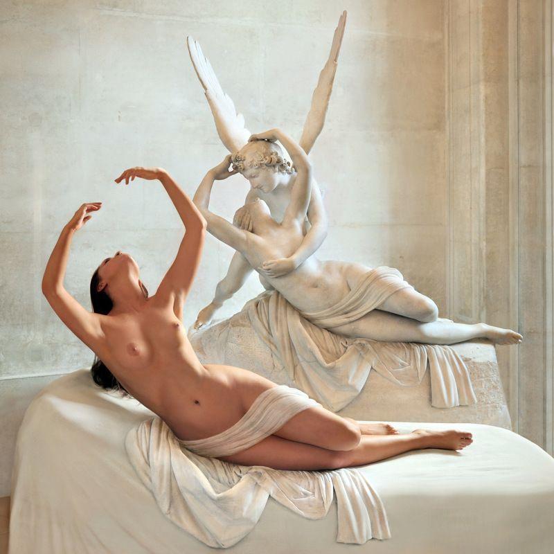 sculpture, art, museum, marble, stone, sleep, love, girl, nude, model, posing, paris, louvre, myth, greek Мрамор XVphoto preview