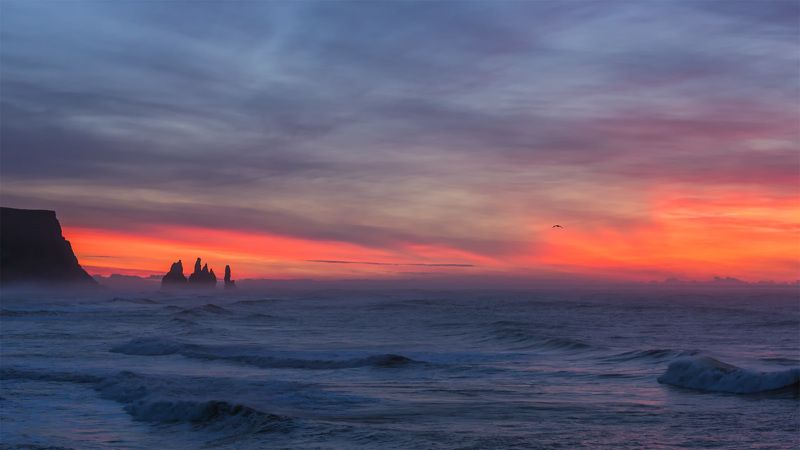 iceland reynisdrangar sunrise Burning horizon. Reynisdrangar.photo preview