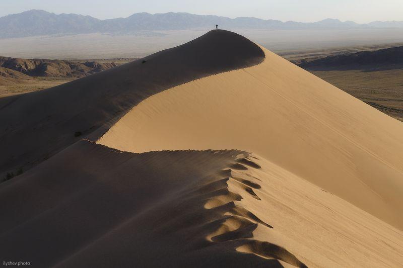 бархан, пейзаж, путешествие, человек, Казахстан, азия, природа, пустыня Покоритель дюнphoto preview