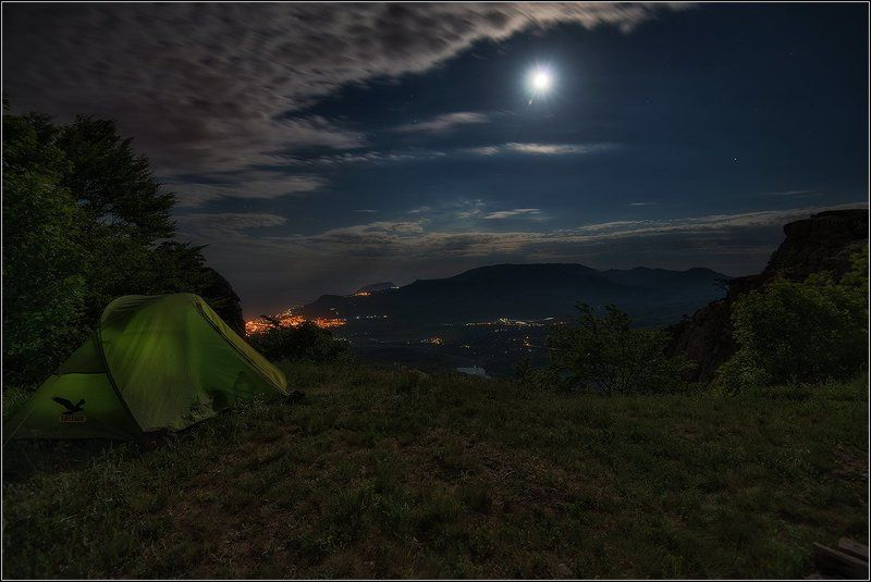крым, весна, ночь, огни поселений Лунная ночь на Демерджиphoto preview
