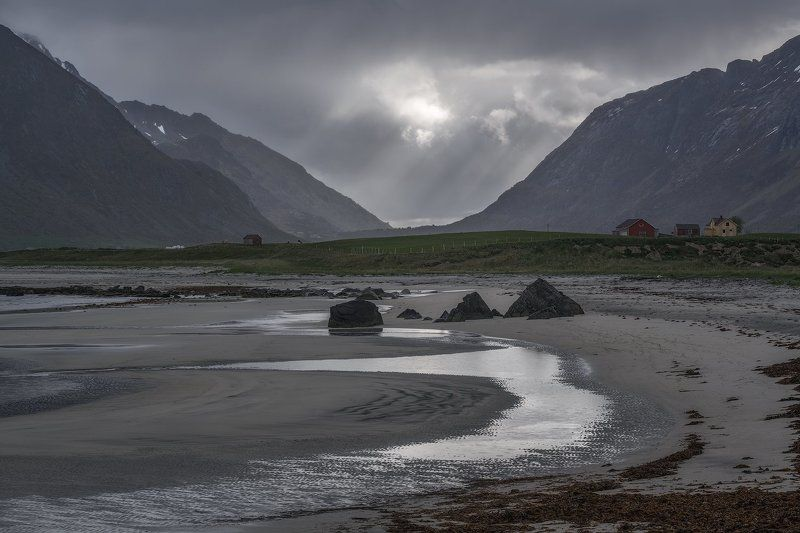 arctic, barn, beach, blue, cliff, clouds, green, house, landscape, lofoten, lofoten islands, long exposure, mountain, nature, nopeople, norway, outdoors, puddles, rock, sand, scandinavia, scenic, sea, seashore, seaweed, shore, sky, sunrays, uttakleiv beac Shades of Greyphoto preview