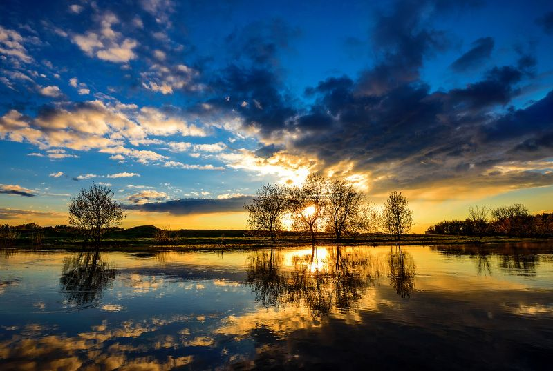 вечер, закат, река, подмосковье Закат на Клязьмеphoto preview