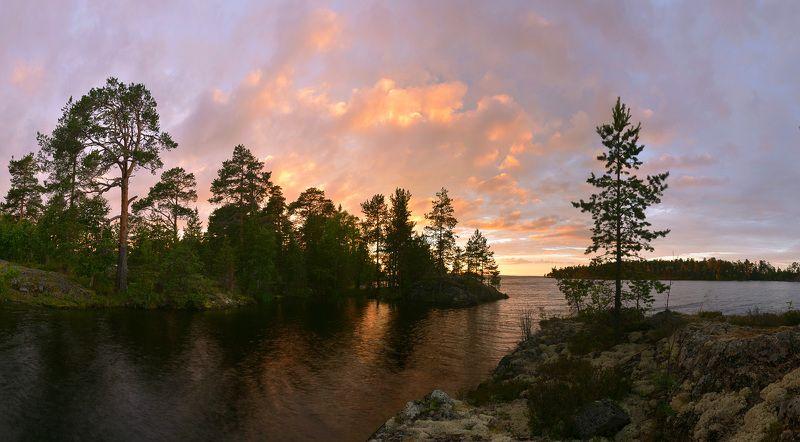 онего, шардонские острова, закат, карелия Полыхнулоphoto preview