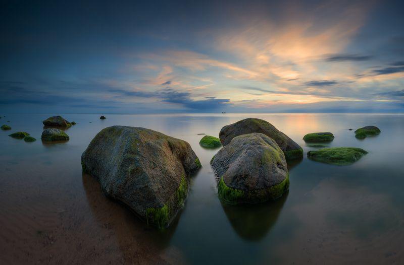 панорама, пейзаж, море, камни, лето После закатаphoto preview
