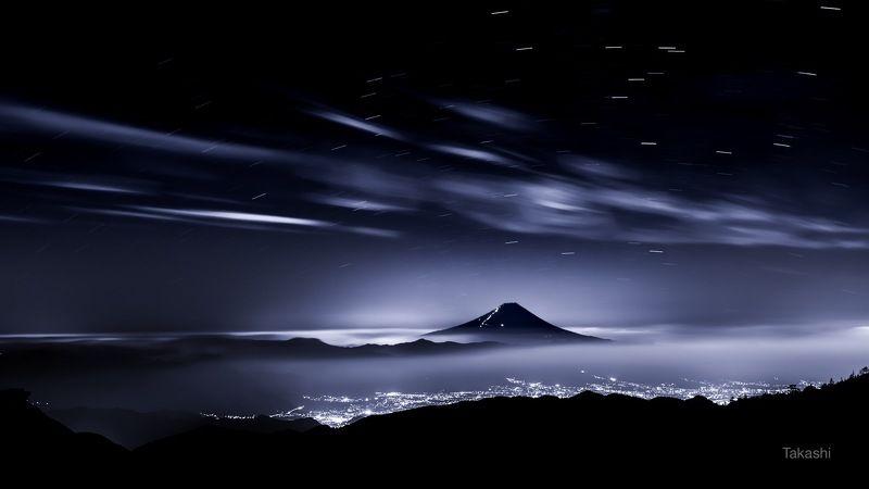 Fuji,Japan,mountain,clouds,star, Night mountain peakphoto preview