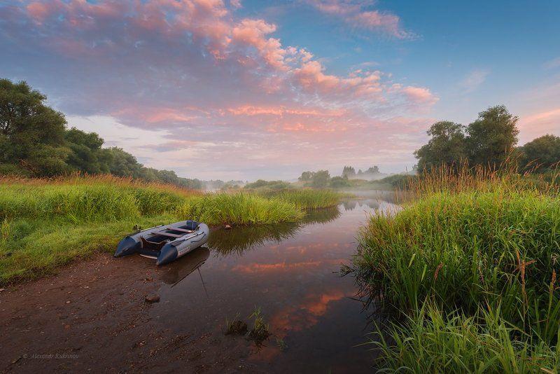рассвет, пейзаж, угра По утренней реке...photo preview