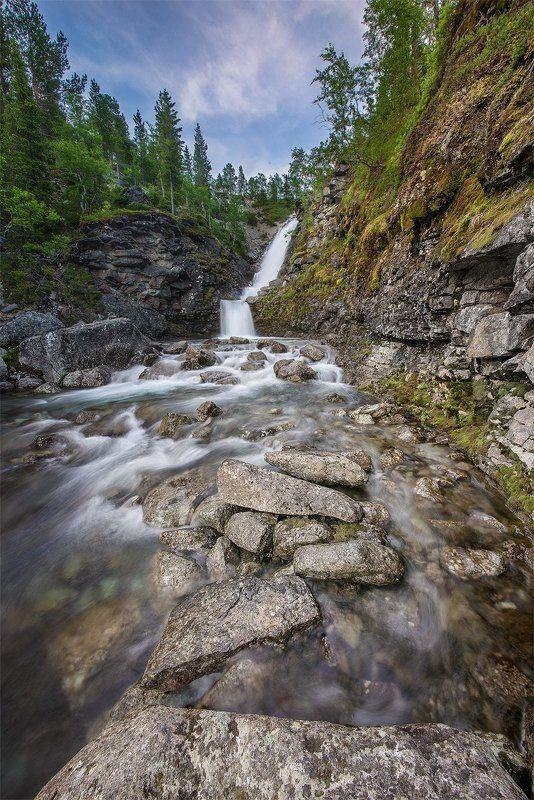 хибины, водопад, рисйок photo preview