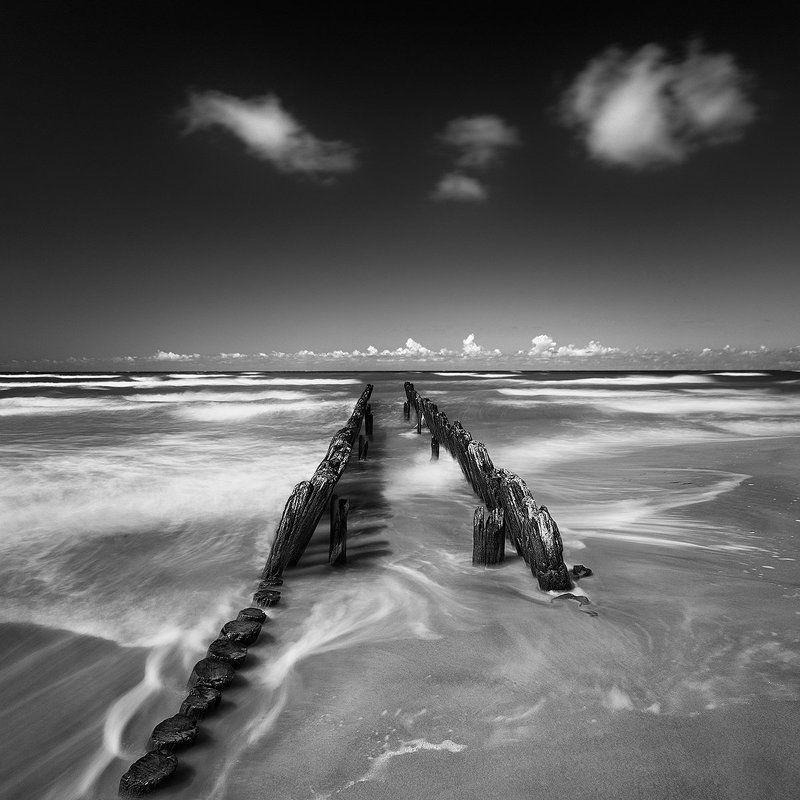 baltic sea waterscape blackanwhite ***photo preview