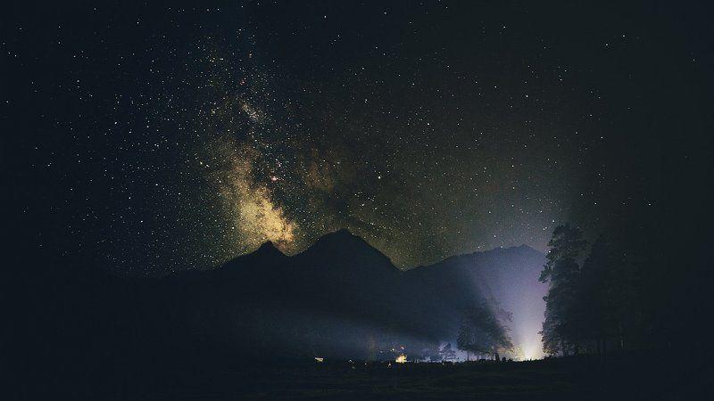 ночь, пейзаж, горы, млечный путь, звёзды, природа Night Sky Viewphoto preview