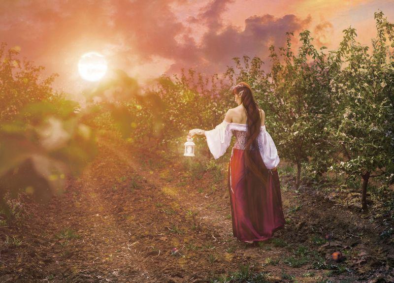 портрет,девушка,сад,весна,солнце,закат Хранительница.Очаг души весеннейphoto preview