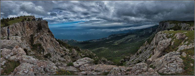 крым, весна, горы, море,тучи, панорама Скоро будет дождьphoto preview