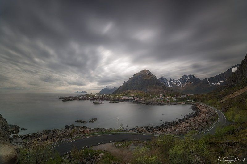 arctic, beach, cabin, clouds, cloudy, fishing hut, fishing settlement, fishing stall, fog, houses, lofoten islands, long exposure, moskenes, mountains, north of norway, norway, outdoors, rainy, road, robur, rorbuer, scandinavia, scenery, sea, shore, shorl Where the Road Endsphoto preview