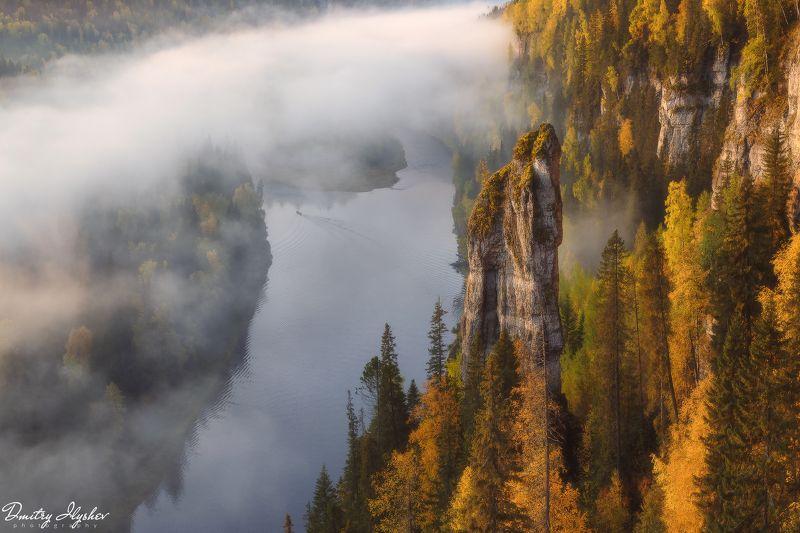 пейзаж, природа, урал, река усьва, пермский край, россия, природа россии, утро, туман, рассвет, чертов палец, усьвинские столбы Усьвинский стражphoto preview