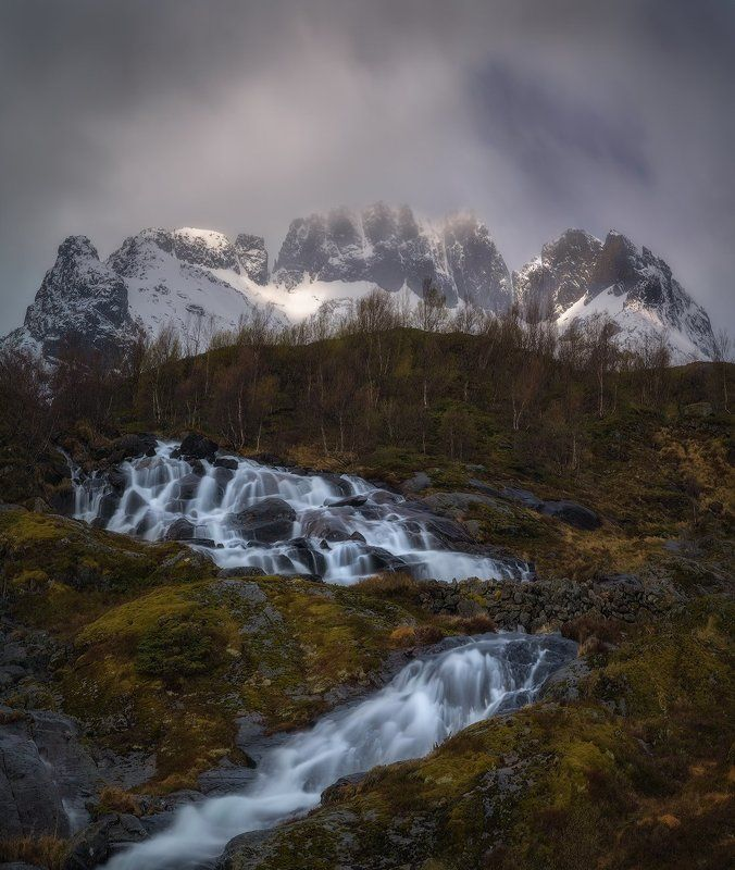 Alpine birch, Birch Trees, bourn, brook, Cliffs, creek, daylight, Falls, fog, Landscape, Lofoten Islands, Long Exposure, Misty, Moskenes, moss, Mountain birch, mountains, nature, no people, Norway Scandinavia, outdoors, rill, Rocks, scenic, Sky, Snow, str Fallsphoto preview
