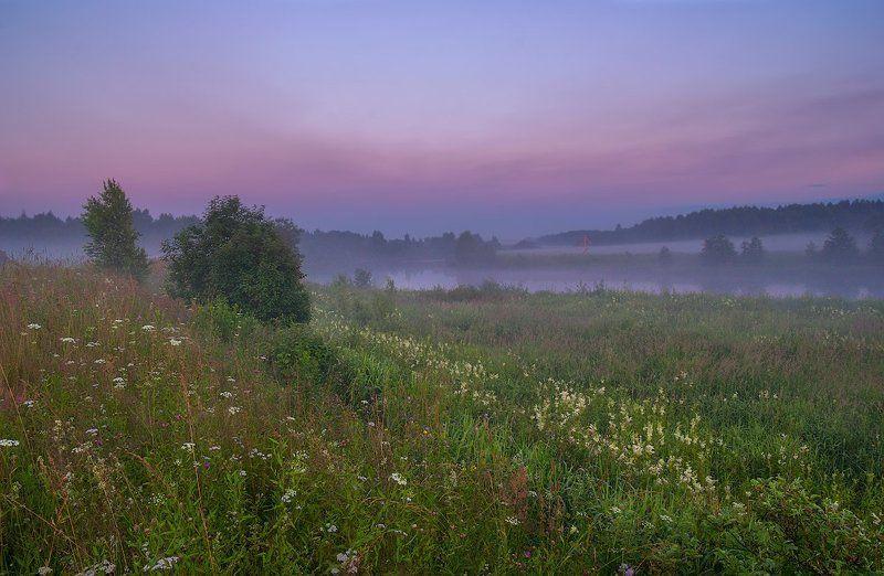 туман, река, сумерки, вечер, закат, дервня сиреневый вечерphoto preview