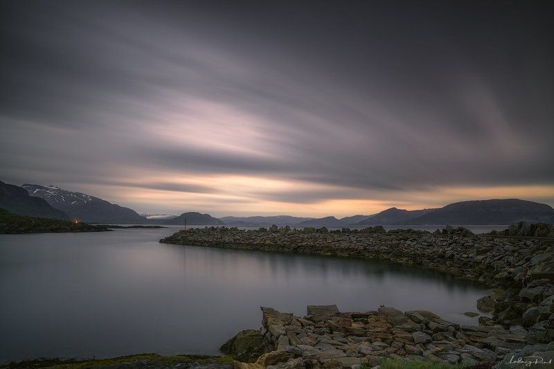 beach, blue, calm, clouds, dusk, evening, ferryport, fog, gloaming, harbor, haven, holm, jetty, long exposure, mole, mountains, nightfall, nordland, nord-trondelag, norway, outdoors, peace tranquility, pier, port, rocks, scandinavia, scenery, serene, shor Holm Ferry Portphoto preview