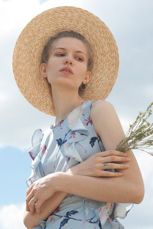 girl, fashion, blue, hat, field, flowers, portrait, style, natural, beauty  Summer Dayphoto preview