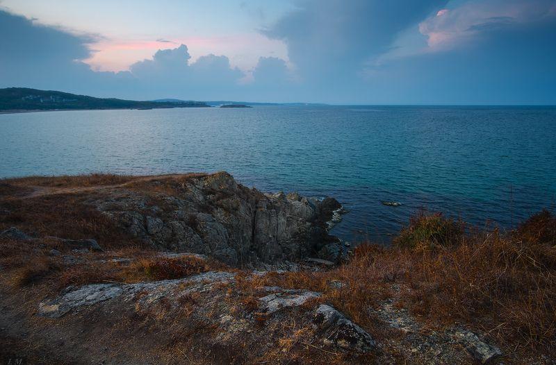 Bulgaria, evening, sea, seascape, sunset, Болгария, бухта, вечер, осень, скалы, Черное море, Black sea, rocks, Arkutino, Аркутино, Dunes ***photo preview