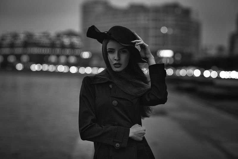 портрет,модель,арт,portrait,art,model,St.Petersburg,естественныйсвет,monocrome,night portrait,street Alicephoto preview