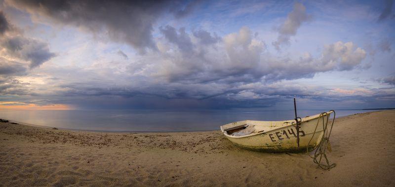 панорама пейзаж латвия рига море закат Гроза над Рижским заливомphoto preview