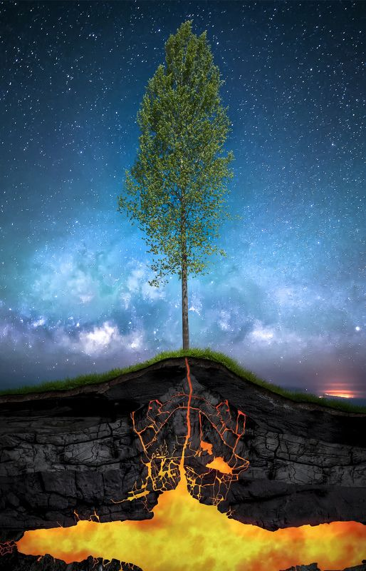 spring, tree, sky, night, lava, magma, energy, nature, concept весна (Spring)photo preview