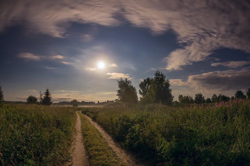 луна ночь полнолуние деревня ночь  полнолунияphoto preview