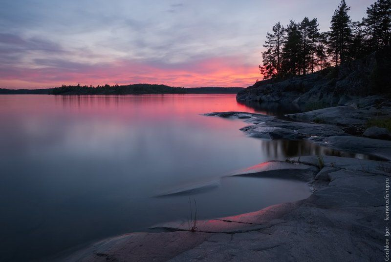 ладога,пейзаж,природа,вечер,закат,камни, острова,шхеры,панорама,россия,озеро,небо, Последние краски закатаphoto preview