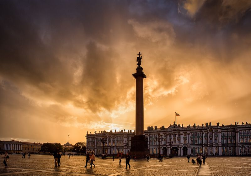 санкт-петербург, вечер, закат, дождь, свет, прогулка, город Дворцовая площадьphoto preview
