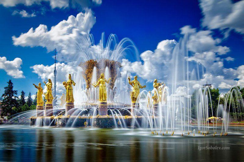 фонтан дружба народов, вднх, длинная выдержка, москва Фонтан \