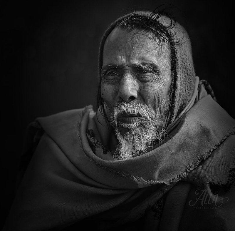 старик, дед, бедуин, платок, седина, борода, морщины, вгляд Молчания печатьphoto preview