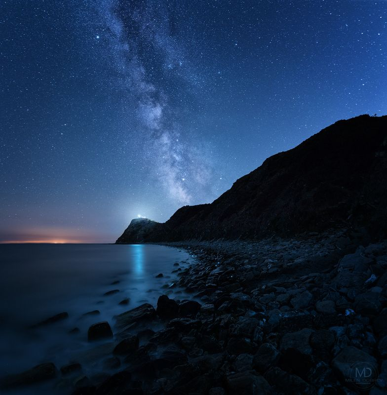 Bulgaria, nightphotography, Milky way, Balkan, stars, night, lighthouse Когда гора встречает мореphoto preview