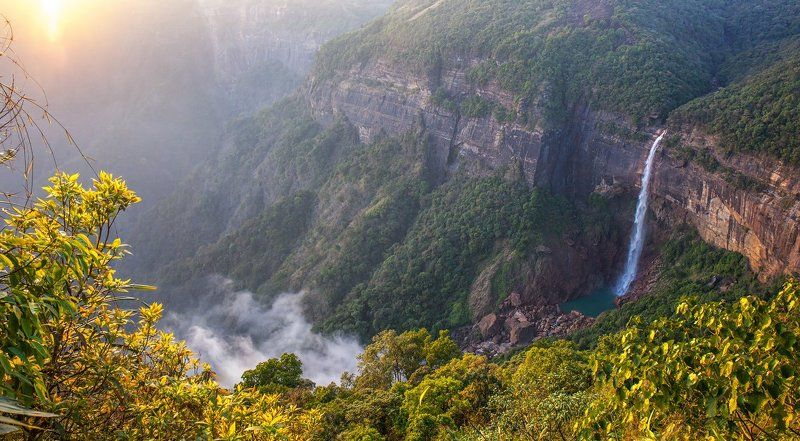 Черапунджи, Мегхалая, водопад Индии, Восточная Индия, Нохкаликай \