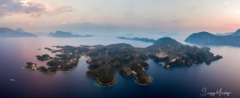 island, meganisi, sunset, greece Sunset above Meganisi island, Greece\'17 ( 2 row panorama, DJI drone )photo preview