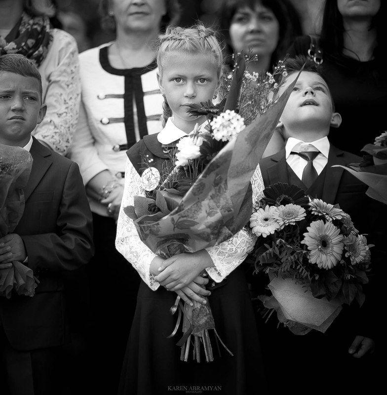 karenabramyan,portrait,school,kid,girl,black&white the first day at schoolphoto preview