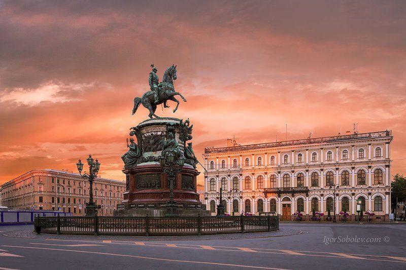 санкт-петербург, николай первый, памятник, рассвет, исаакиевская площадь Памятник Николаю 1 в Санкт-Петербургеphoto preview