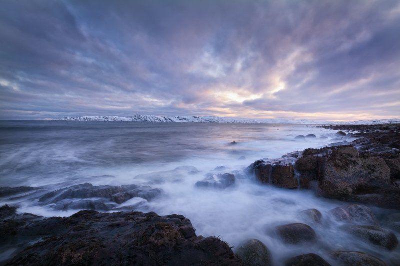море, баренцево море, териберка, кольский полуостров, северный ледовитый океан, север Одинокий берегphoto preview