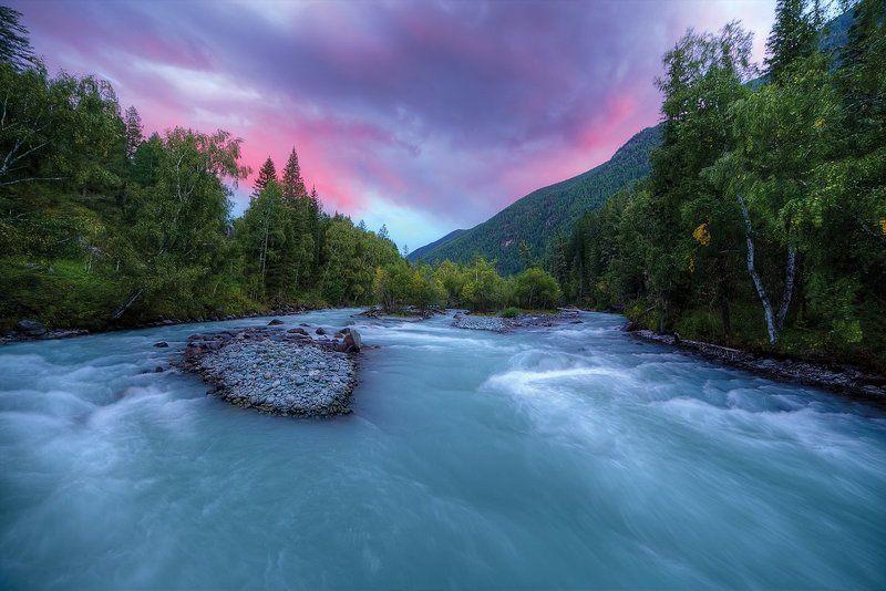 Горный Алтай, река Кучерла, рассвет, закат Вечер на реке Кучерлаphoto preview