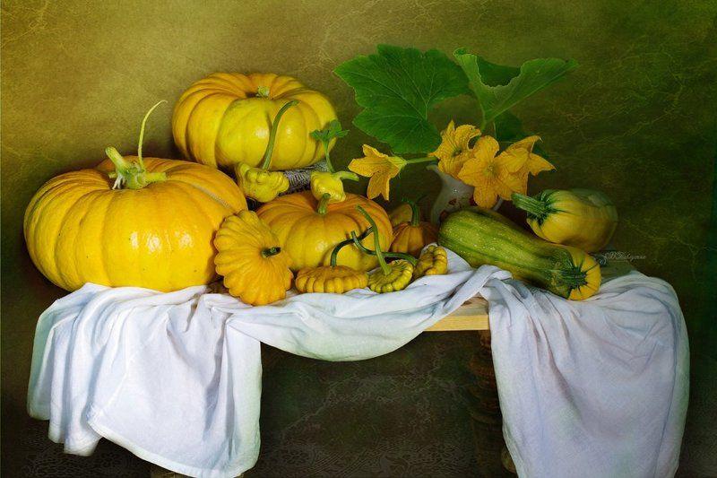 осень,тыквы,патиссоны,натюрморт,вера павлухина , Осенний натюрмортphoto preview