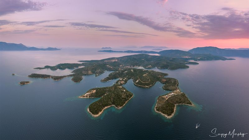 greece, meganisi, sunset, clouds Sunset above Meganisi island #3, Greece\'17 ( 2 row panorama, DJI drone )photo preview