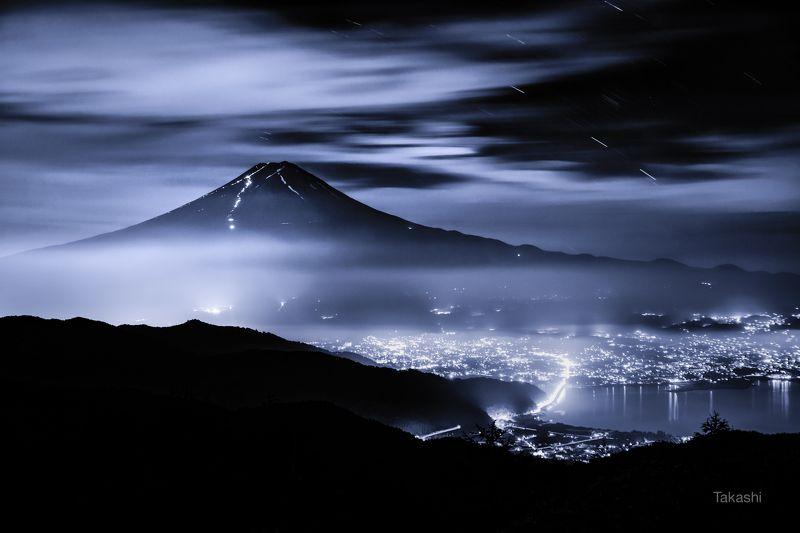 Fuji,Japan,mountain,clouds,sky,fog,lake,blue,star,night,amazing,landscape,wonderful,beautiful Mountain in the nightphoto preview