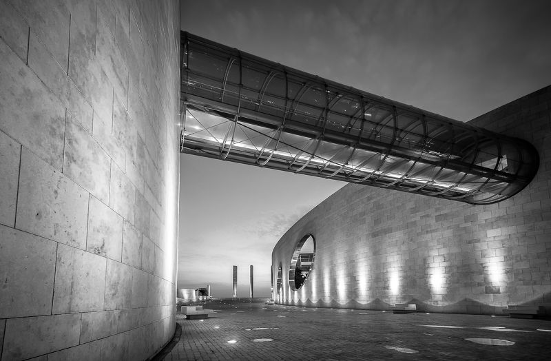 city, architecture, bnw, Lisbon, Portugal, night, lights, glass, metal Connectedphoto preview