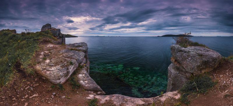 панорама, утро, море, скалы, небо, облака photo preview