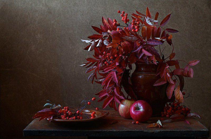 натюрморт, осень, рябина, яблоки С рябинойphoto preview