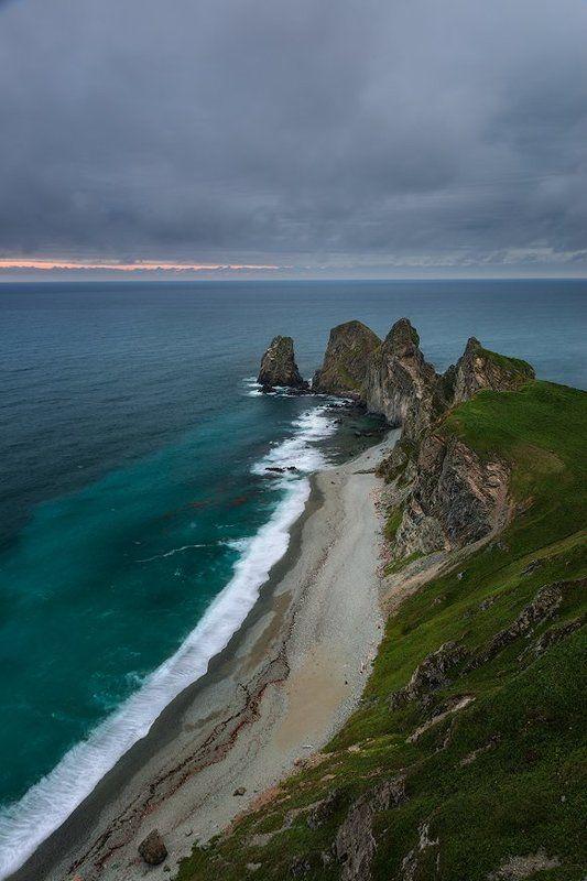 приморский край, море, солнце, рассвет, море, побережье Мыс Четрыех скалphoto preview